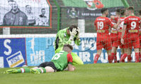 4th August 2018. Danske Bank Irish premier league match between Glentoran and Cliftonville at The Oval in Belfast.. Glentorans Elliott Morris can\'t hide his disappointment in losing t o a last minute goal.  Mandatory Credit: Stephen Hamilton /Inpho