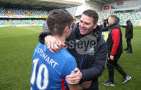 Danske Bank Premiership, Windsor Park,Belfast  13/4/2019. Linfield vs Crusaders. Linfield\'s  manager David Healy at the final whistle with  Jordan Stewart after winning the Danske Bank Premiership title.. Mandatory Credit INPHO/Brian Little
