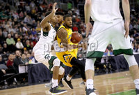 Press Eye - Belfast -  Northern Ireland - 02nd December 2017 - Photo by William Cherry/Presseye. Manhattan College\'s Calvin Crawford with Towson College\'s Deshaun Morman during Saturday evenings Championship game of the Basketball Hall of Fame Belfast Classic at the SSE Arena, Belfast.  Photo by William Cherry/Presseye
