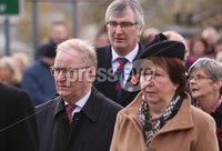 Wednesday 8th November 2017. . Picture by Press Eye.com. . Lord Maurice Morrow and Tom Elliott former leader of the UUP attending the Service at the unveiling and dedication of the memorial for the victims of the 1987 Enniskillen Poppy Day Bomb.