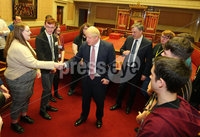 Press Eye - Belfast - Northern Ireland - 13th January 2020. British Prime Minister Boris Johnson visits Stormont in east Belfast after power sharing returned at the weekend to the Northern Ireland Assembly.. Prime Minister Boris Johnson and Secretary of State Julian Smith speak to young people in the Senate Chamber at Parliament Buildings.. Picture by Jonathan Porter/PressEye