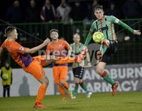 . Danske Bank Premiership,The Oval Belfast 14/11/2017. Glentoran v Glenavon. Mandatory Credit ©INPHO/Stephen Hamilton. Glentorans Marcus Kane  in action with Glenavons Andy Mitchell