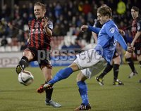 Press Eye - Northern Ireland -12th February 2016. Photograph:Presseye /Stephen Hamilton. Danske Bank Irish premier league match betweeen Crusaders and Glenavon at Seaview Belfast.. Crusaders Mathew Snoddy  in action with Glenavons Joel; Cooper