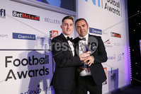 Press Eye - Belfast - Northern Ireland - 7th May 2018  - . NI Football Awards at the Crowne Plaza Hotel.. DREAM SPANISH HOMES YOUNG PLAYER OF THE YEAR. Gerry Flynn makes a presentation to Gavin Whyte, Young Player of the Year. Photo by Kelvin Boyes / Press Eye .