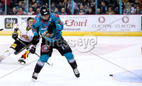 Press Eye - Belfast -  Northern Ireland - 11th January 2019 - Photo by William Cherry/Presseye. Belfast Giants David Rutherford scoring against HK Gomel during Friday nights Continental Cup Final game at the SSE Area, Belfast.   Photo by William Cherry/Presseye