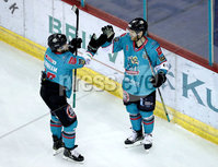 Press Eye - Belfast, Northern Ireland - 06th December 2019 - Photo by William Cherry/Presseye. Belfast Giants\' Liam Reddox celebrates scoring against the Sheffield Steelers during Friday nights Elite Ice Hockey League game at the SSE Arena, Belfast.       Photo by William Cherry/Presseye