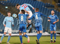 Danske Bank Premiership, Showgrounds, Ballymena.. 16/2/2021. Ballymena United  FC vs Coleraine FC . Ballymena United  Conor Keeley   and Coleraine Stephen Lowry   during Tuesday night\'s Danske Bank Premiership match at Ballymena Showgrounds.. Mandatory Credit  INPHO/Brian Little