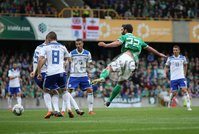 PressEye-Northern Ireland- 8th September  2018-Picture by Brian Little/ PressEye. Northern Ireland  Will Grigg shots on goal against  Bosnia and Herzegovina      during  Saturday\'s  UEFA Nations League match at the National Football Stadium at Windsor Park.. Picture by Brian Little/PressEye .