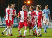 Tenants Country Antrim Shield Semi Final at Ballymena Showgrounds.  08.01.2019. Ballymena United v Linfield FC. Linfield\'s Andrew Waterworth(centre) celebrates after scoring to make it 0-1. . Mandatory CreditINPHO/PressEye.com/Jonathan Porter.