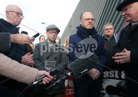 Press Eye - Belfast - Northern Ireland - 30th November 2018. . The Detail journalists Barry McCaffrey(second from left) and Trevor Birney(second from right) pictured entering PSNI Musgrave Street Station where for further questioning after they were recently arrested regarding allegedly stolen information which appeared in the documentary \'No Stone Unturned\'.  The documentary told the story of the murder of six men by the UVF in a pub in Loughinisland, Co. Down. . The NUJ also held a protest outside the station in support of the two journalists. . Picture by Jonathan Porter/PressEye