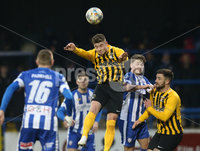 Tennent\'s Irish Cup Round 5, The Showgrounds, Co. Londonderry 5/1/2019. Coleraine vs H&W Welders. Coleraine\'s Ian Parkhill in action with H&W Welders Chrlie Dornan. Mandatory Credit INPHO/Matt Mackey