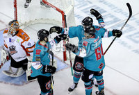 Press Eye - Belfast, Northern Ireland - 06th December 2019 - Photo by William Cherry/Presseye. Belfast Giants\' Ben Lake celebrates scoring against the Sheffield Steelers during Friday nights Elite Ice Hockey League game at the SSE Arena, Belfast.       Photo by William Cherry/Presseye