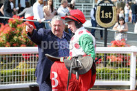 Press Eye - Belfast - Northern Ireland - 7th May 2018  - . May Day Meeting at Down Royal Racecourse.. DAILY MIRROR HANDICAP CHASE. Graham Keys, owner of Drumconnor Lad with jockey Roger Loughran.. Photo by Kelvin Boyes / Press Eye .