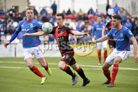 . Danske Bank Premiership Play-Off, Seaview, Belfast 14/4/2018 . Crusaders vs Linfield. Mandatory Credit ©INPHO/Stephen Hamilton. Crusaders  Paul Heatley with Linfields Andy Mitchell