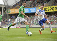 8th August 2018. Northern Ireland v Bosnia & Herzegovina at the national stadium in Belfast.. Northern Ireland\'s Craig Cathcart in action with  Bosnia & Herzegovina\'s Haris Duljevic .  Mandatory Credit: Stephen Hamilton /Presseye