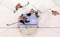 Press Eye - Belfast -  Northern Ireland - 06th January 2019 - Photo by William Cherry/Presseye. Belfast Giants\' David Rutherford with Sheffield Steelers\' Matt Climie during Sunday afternoons Elite Ice Hockey League game at the SSE Arena, Belfast.    Photo by William Cherry/Presseye