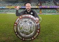 County Antrim Shield Final -  Windsor Park.  21.01.20. Cliftonville FC vs Ballymena United. Cliftonville celebrate after wining the final 2-1 and lift the shield.  Manager Paddy McLaughlin pictured with the shield. . Mandatory Credit INPHO/Jonathan Porter