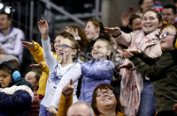 Press Eye - Belfast, Northern Ireland - 30th November 2019 - Photo by William Cherry/Presseye. Fans cheer on their team during Saturday afternoons Friendship Four game between Princeton Tigers and UNH Wildcats at the SSE Arena, Belfast.      Photo by William Cherry/Presseye