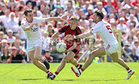 Ulster GAA Senior Football Championship Final, St Tiernach\'s Park, Clones, Co. Monaghan 16/7/2017. Down vs Tyrone. Down\'s Jerome Johnston with Conal McCann and Tiernan McCann of Tyrone. Mandatory Credit ©INPHO/Morgan Treacy