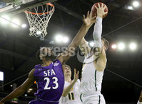 Press Eye - Belfast -  Northern Ireland - 30th November 2018 - Photo by William Cherry/Presseye. San Francisco\'s Jimbo Lull with Stephen F. Austin\'s Nathan Bain during Friday afternoons game in the Goliath bracket of the Basketball Hall of Fame Belfast Classic at the SSE Arena, Belfast.