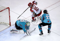 Press Eye - Belfast, Northern Ireland - 01st February 2020 - Photo by William Cherry/Presseye. Belfast Giants\' Shane Owen with Cardiff Devils\' Sean Bentivoglio during Sunday afternoons Elite Ice Hockey League game at the SSE Arena, Belfast.   Photo by William Cherry/Presseye