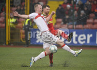 Danske Bank Premiership, Solitude Belfast, Co Antrim 10/03/2018. Cliftonville  vs Crusaders . Cliftonville\'s Gary Breen  in action with Crusaders Jordan Owens . Mandatory Credit ©INPHO/Stephen Hamilton.