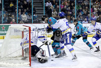 Press Eye - Belfast, Northern Ireland - 06th March 2020 - Photo by William Cherry/Presseye. Belfast Giants\' Jordan Smotherman with Fife Flyers\' Chase Schaber during Friday nights Elite Ice Hockey League game at the SSE Arena, Belfast.   Photo by William Cherry/Presseye