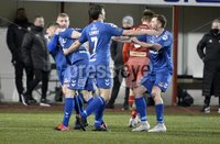9th January 2021. Danske Bank Premiership, Solitude, Belfast . Cliftonville vs Crusaders. Crusaders goal scorer Ben Kennedy celebrates . Mandatory Credit INPHO/Stephen Hamilton