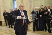 13/01/2020. Prime Minister Boris Johnston pictured  at Stormont buildings on the first day of the new Power Sharing executive. Mandatory Credit.  Presseye/Stephen Hamilton