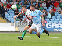 Danske Bank Premiership, Showgrounds, Ballymena  24/8/2019. Ballymena United  vs Glentoran FC . Ballymena United\'s Declan Carville  and  Marcus Kane  of Glentoran .. Mandatory Credit  INPHO/Brian Little