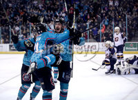 Press Eye - Belfast, Northern Ireland - 29th February 2020 - Photo by William Cherry/Presseye. Belfast Giants\' Brian Ward celebrates scoring against the Guildford Flames during Saturday nights Elite Ice Hockey League game at the SSE Arena, Belfast.    Photo by William Cherry/Presseye