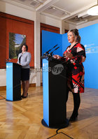 Press Eye - Belfast - Northern Ireland - 29th June 2020 -  . First Minister Arlene Foster and deputy First Minister Michelle O\'Neill during the daily media broadcast in the Long Gallery at Parliament Buildings, Stormont on Monday.. Picture by Kelvin Boyes / Press Eye.