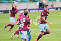 ress Eye - Belfast - Northern Ireland - 27th July 2020 - . Ballymena United FC v Coleraine FC Sadler\'s Peaky Blinder Irish Cup Semi Final at the National Football Stadium at Windsor Park.. Ballymenas Adam Lecky and teammates celebrate after they score in the last minutes of the game to make it 1-1 and take it to extra time. . Photo by Jonathan Porter Press Eye.