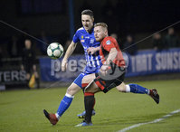 Danske Bank Premiership, The Showgrounds Newry 11/01/2019. Newry vs Crusaders. Newrys Thomas McCann  with Crusaders David Cushley. Mandatory Credit INPHO/Stephen Hamilton.