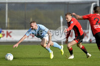 12th October 2019. Danske Bank Irish premiership. Ballymena v Crusaders at Warden Street.. Ballymena\'s Jude Winchester in action with Crusaders Rory Hale. Mandatory Credit -Inpho/Stephen Hamilton.