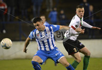Bet Mclean league cup 3rd round . 8th October 2019. Coleraine  v Glentoran ay Ballycastle road, Coleraine. Coleraines Eoin Bradley  in action with Glentorans Christopher Gallagher. Mandatory Credit INPHO/Stephen Hamilton.