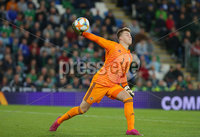 Press Eye - Belfast - Northern Ireland - 9th September 2019 . UEFA EURO Qualifier Group C at the National Stadium at Windsor Park, Belfast.  Northern Ireland Vs Germany. . Northern Ireland\'s goalkeeper Bailey Peacock-Farrell.  . Photo by Jonathan Porter / Press Eye.