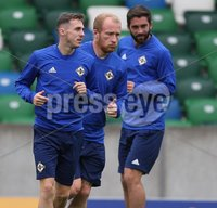 PressEye-Northern Ireland- 10th September  2018-Picture by Brian Little/ PressEye. Northern Ireland Gavin Whyte,  Liam Boyce and Will Grigg  training ahead of Tuesday Friendly International Challenge match against Israel  at the National Football Stadium at Windsor Park.. Picture by Brian Little/PressEye