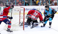 Press Eye - Belfast -  Northern Ireland - 14th September 2018 - Photo by William Cherry/Presseye. Belfast Giants\' David Rutherford  with Dundee Stars\' Craig Holland during Friday nights Challenge Cup game at the SSE Arena, Belfast.       Photo by William Cherry/Presseye