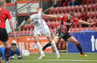 10th August 2019. Danske Bank Premiership.  Crusaders v Carrick Rangers at Seaview Belfast.. Crusaders Gary Thompson  in action with Carricks Caolan Loughran. Mandatory Credit : Stephen Hamilton/Inpho
