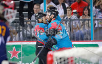 Press Eye - Belfast -  Northern Ireland - 09th August 2017 - Belfast Giants Steve Saviano scores during Saturday nights Elite Ice Hockey League game at the SSE Arena, Belfast.  Photo by Presseye