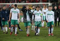 PressEye-Northern Ireland- 12th November  2017-Picture by Brian Little/ PressEye. Dejected  Northern Ireland players Paddy McNair ,  Oliver Norwood, Steven Davis and  Jordan Jones after the final whistle   during Sunday night\'s FIFA  World Cup play-off  second leg match at St Jacob Park, Basel.. Picture by Brian Little/PressEye