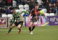 Danske Bank Premiership, Seaview Belfast.. Co Antrim 02/12/17. Crusaders v Glentoran. Mandatory Credit ©INPHO/Stephen Hamilton. Crusaders Billy Joe Burns  in action with Glentorans Dylan Davidson.