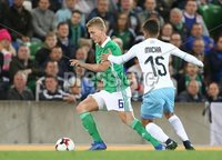 PressEye-Northern Ireland- 11th September  2018-Picture by Brian Little/ PressEye. Northern Ireland  George Salville    and Israel  Dor Micha    during  Tuesday\'s  Friendly International Challenge match at the National Football Stadium at Windsor Park.. Picture by Brian Little/PressEye .