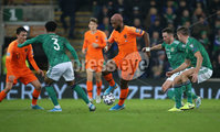 PressEye-Northern Ireland- 16th November 2019-Picture by Brian Little/PressEye. Northern Ireland Jamal Lewis   and Netherlands Ryan Babel   during Saturday\'s EURO 2020 Qualifier at the National Football Stadium at Windsor Park.. Picture by Brian Little/PressEye