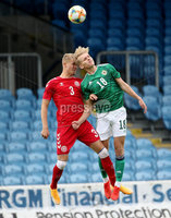 Press Eye - Belfast, Northern Ireland - 0th September 2020 - Photo by William Cherry/Presseye. Northern Ireland\'s Alistair McCann with Denmark\'s Lukas Klitten during Tuesday nights U21 Euro Qualifier at the Ballymena Showgrounds, Ballymena.      Photo by William Cherry/Presseye
