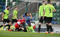 Danske Bank Premiership, Windsor Park, Belfast  3/11/2018. Linfield FC vs Warrenpoint Town. Linfield Andrew Waterworth scores a last gasp equaliser and got injured in the process against   Warrenpoint Town.. Mandatory Credit @INPHO/Brian Little.