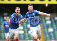 Danske Bank Premiership Play-off , Windsor Park, Belfast  7/4/2018. Linfield FC vs Ballymena United. Linfield\'s   Mark Stafford celebrates with Andrew Mitchell after opening the scoring agains Ballymena United.. Mandatory Credit @INPHO/Brian Little