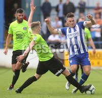 Danske Bank Premiership, Showgrounds, Coleraine 4/8/2018. Coleraine vs Warrenpoint. Warrenpoint\'s Anto Reilly and Coleraine\'s Josh Carson. Mandatory Credit ©INPHO/Lorcan Doherty