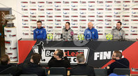 Press Eye - Belfast -  Northern Ireland - 13th February 2018 - Photo by William Cherry/Presseye. Dungannon Swifts Ryan Harpur and Rodney McAree with Ballymena United\'s Bryan McLoughlin & Jim Ervin pictured at the BetMcLean League Cup Final press conference at the National Stadium at Windsor Park, Belfast.